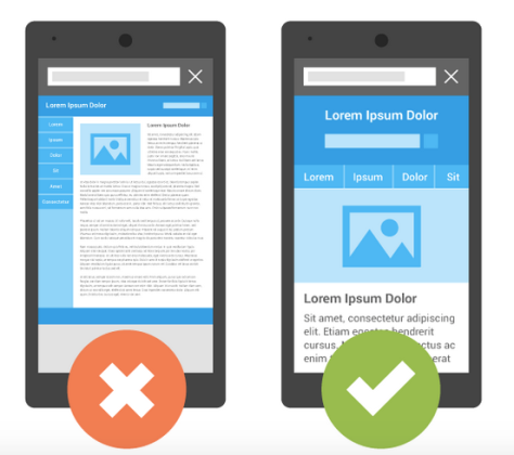 Image of two phones showing which one Google will like better so its mobile search algorithm will rank it higher than a site it doesn't like as much.