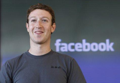 Image of Mark Zuckerberg with the Facebook logo.